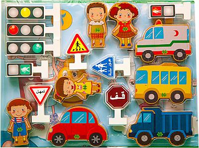 وسيلة تعليمية قطع أكسسوارات المكعبات المرورية